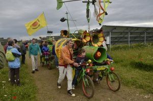 Floats made using bicycles at open day within solar park