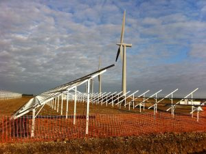 Newly installed solar panels with turbines in the
